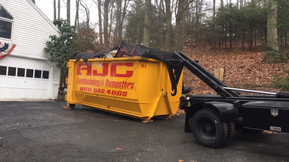 Dumpster service pick-up from job in Old Lyme, CT.